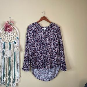 Beachlunchlounge Floral Button Down Shirt Blue S